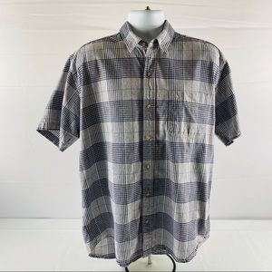 Top Sider Button Up Shirt Short Sleeve Plaid Large